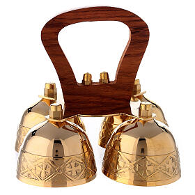 Liturgical bell 4 tons brass and wood handle s1