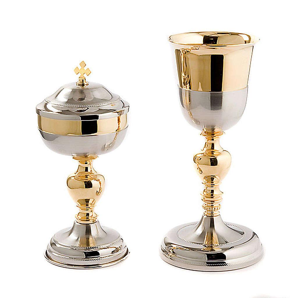 Cáliz y Copón Malta plata satinada y oro 4