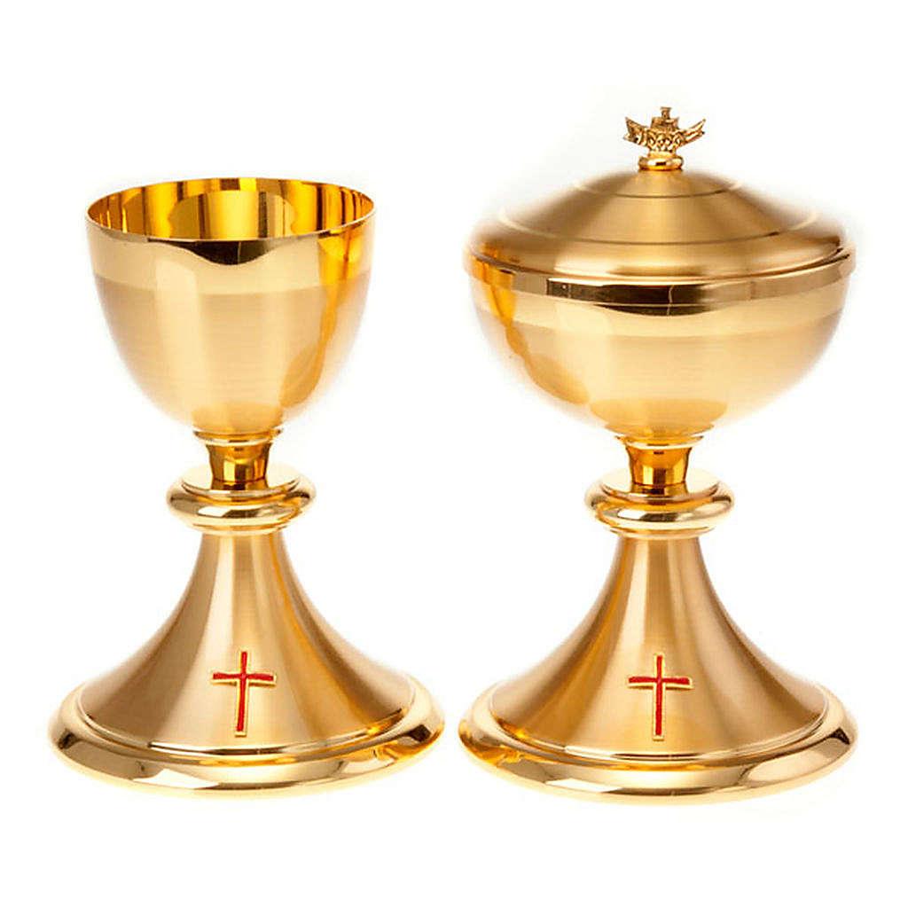 Calice et ciboire dorés avec croix 4
