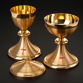 Calice et ciboire dorés avec croix s2