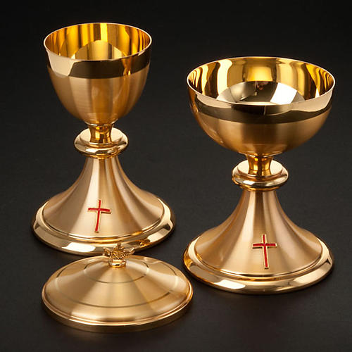 Calice e Pisside dorato con croce 2