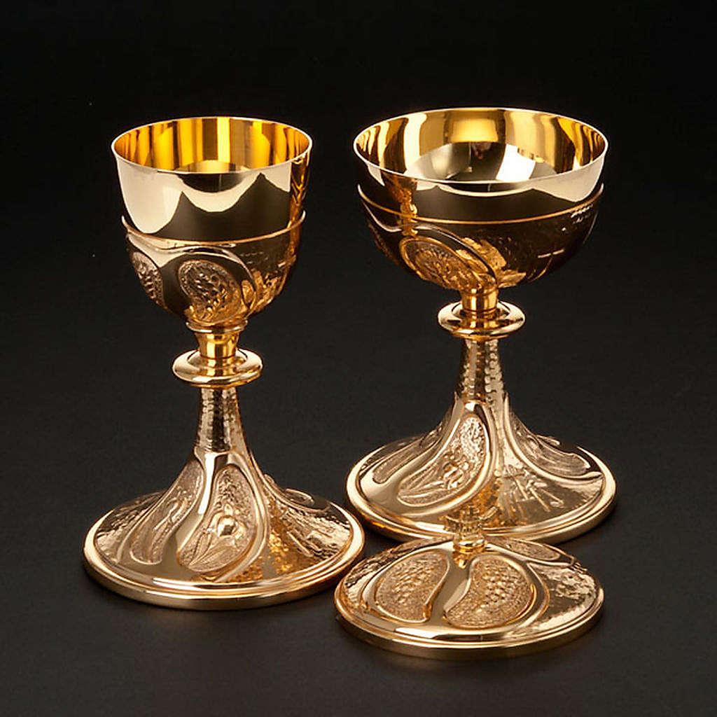 Kielich i puszka rzeźbione winogrona kłosy zboża 4