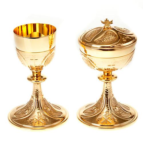 Kielich i puszka rzeźbione winogrona kłosy zboża 1