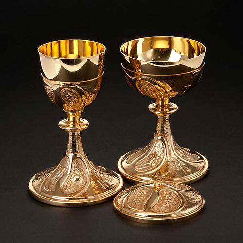 Kielich i puszka rzeźbione winogrona kłosy zboża 5