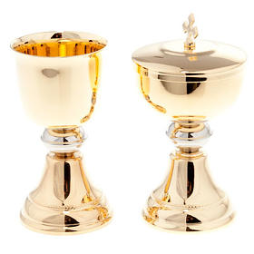 Chalice and ciborium for travel in gold-plated brass s1