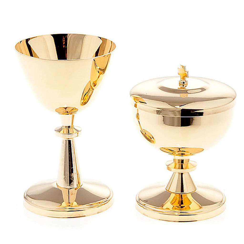 Gold-plated brass chalice and ciborium - small size 4