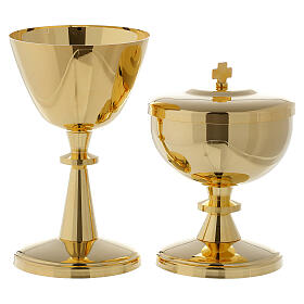 Gold-plated brass chalice and ciborium - small size s1