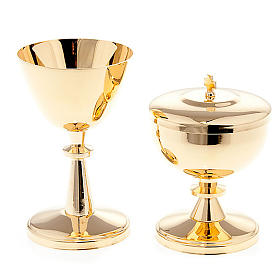 Gold-plated brass chalice and ciborium s1