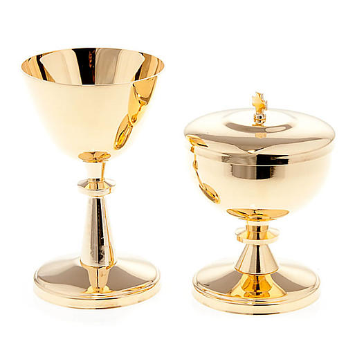 Gold-plated brass chalice and ciborium - small size 1