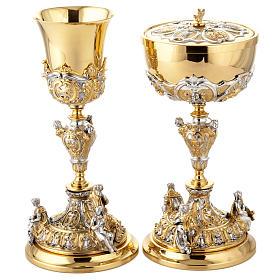 Calice argento e Pisside dorata argentata 3 putti s1