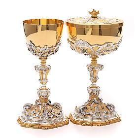 Calice e pisside ottone Sacro Cuore di Gesù s1
