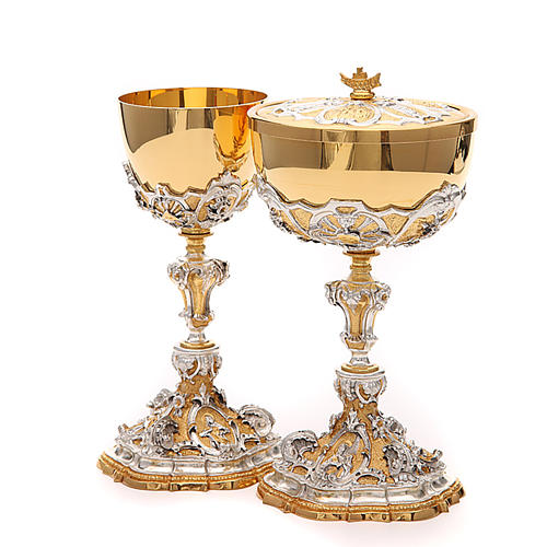 Chalice and ciborium with Sacred Heart of Jesus 2