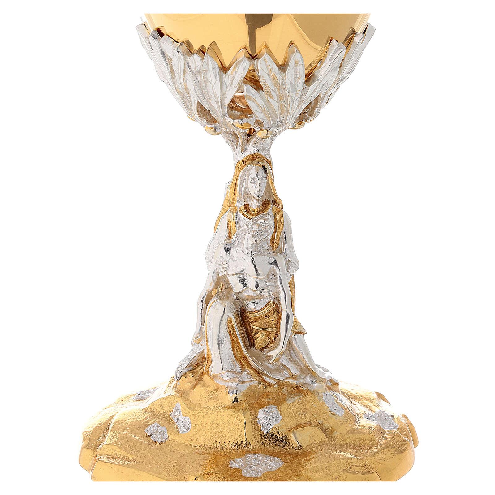 Calice e Pisside cesellata ottone La Pietà 4