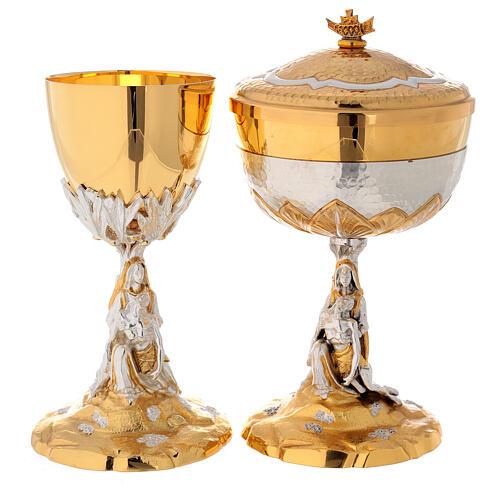 Calice e Pisside cesellata ottone La Pietà 1