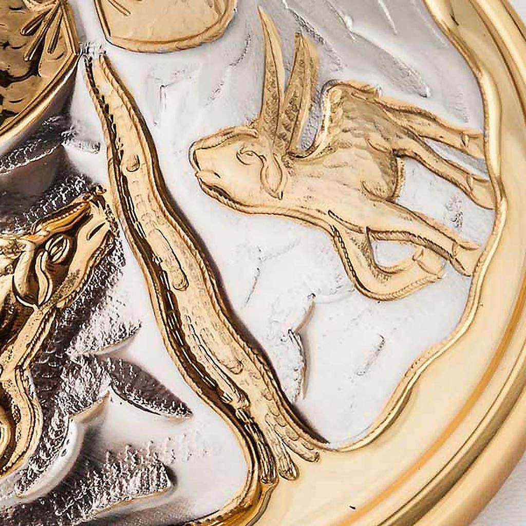 Calice e pisside ottone cesellato Cervi alla Fonte 4