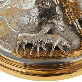 Calice e pisside ottone cesellato Buon Pastore s17