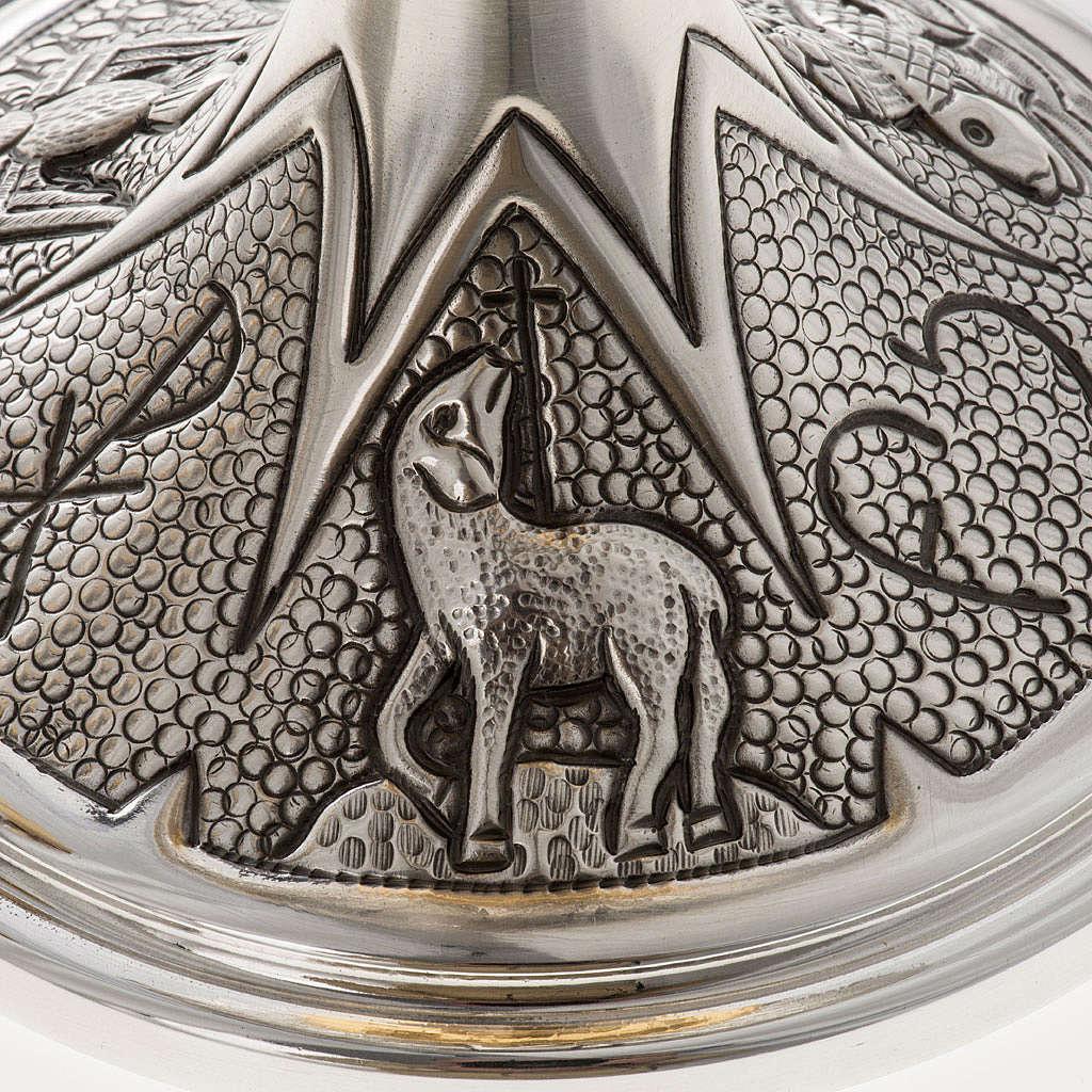 Chalice and ciborium Chi-Rho chiseled brass 4
