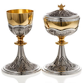 Chalice and ciborium Chi-Rho chiseled brass s2