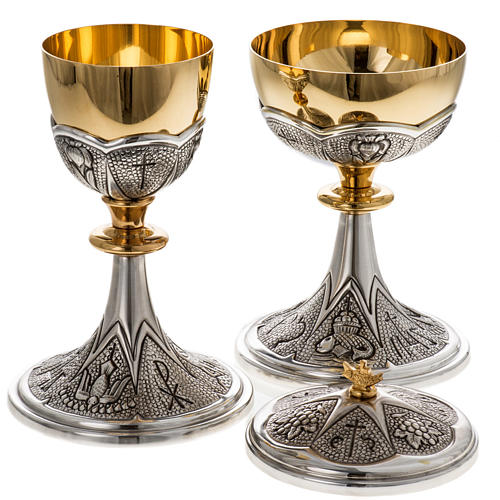 Chalice and ciborium Chi-Rho chiseled brass 7