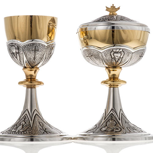 Chalice and ciborium Chi-Rho chiseled brass 8