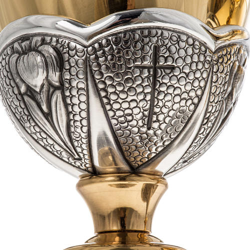 Chalice and ciborium Chi-Rho chiseled brass 9