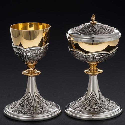 Chalice and ciborium Chi-Rho chiseled brass 12