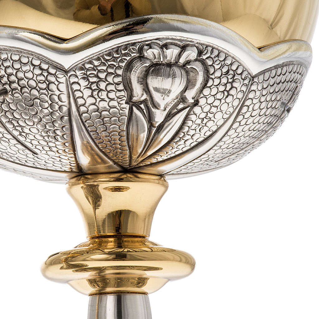 Chalice and ciborium Chi-Rho chiseled brass 4