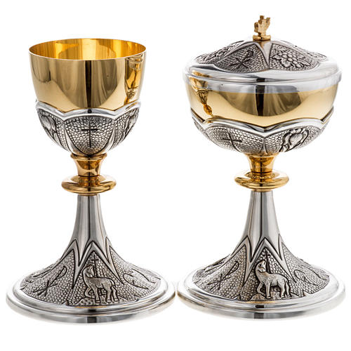 Chalice and ciborium Chi-Rho chiseled brass 1