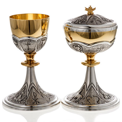 Chalice and ciborium Chi-Rho chiseled brass 2