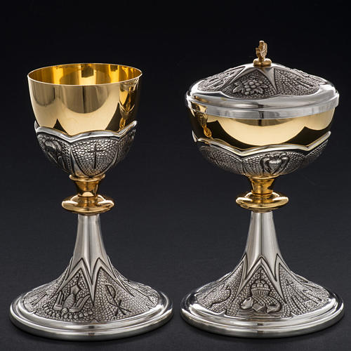Chalice and ciborium Chi-Rho chiseled brass 12