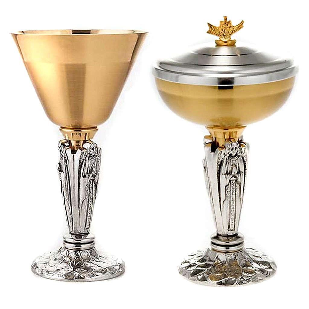 Calice e pisside Angelo in preghiera ottone 4