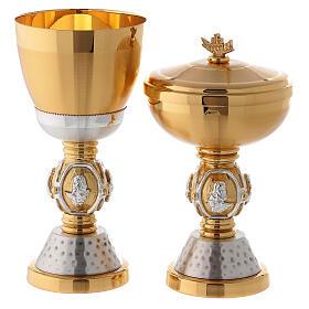 Calice e pisside ottone simboli evangelisti s1