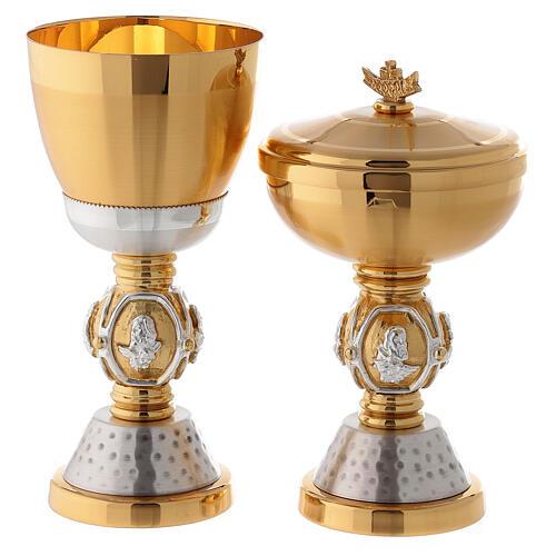 Calice e pisside ottone simboli evangelisti 1