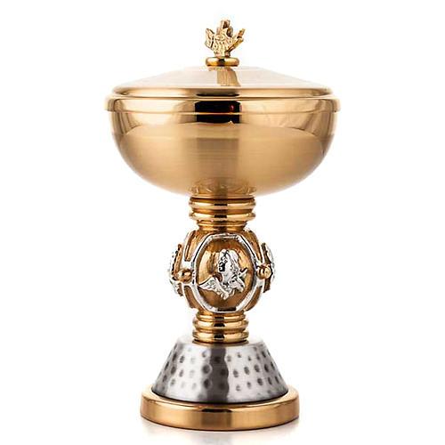 Cálice e cibório latão símbolos evangelistas 3