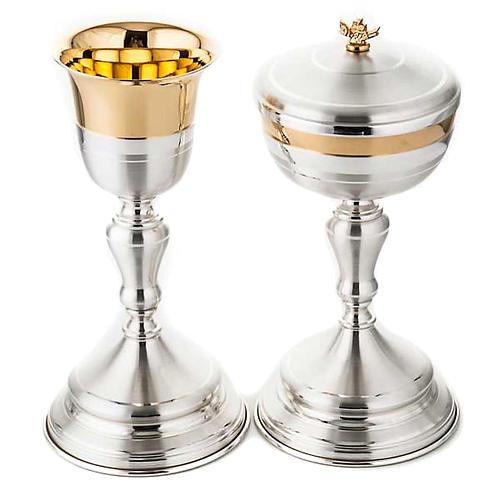 Calice e pisside ottone oro argento satinato 1