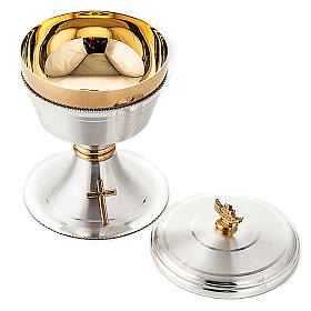 Chalice and ciborium cross silver brass satin s6