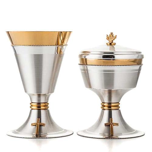 Chalice and ciborium cross silver brass satin 2