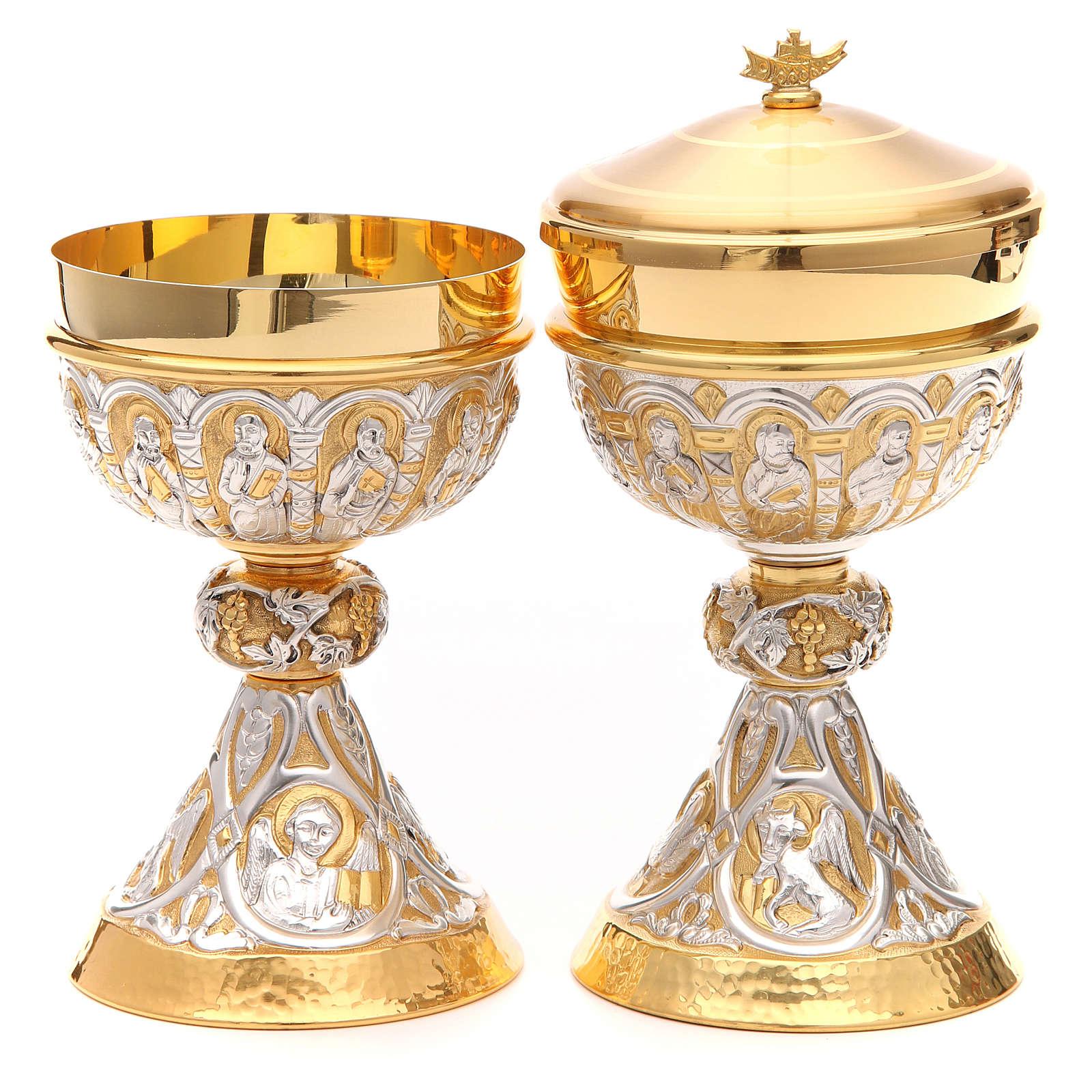 Cáliz y Copón de plata 800 con apóstoles y evangelistas 4
