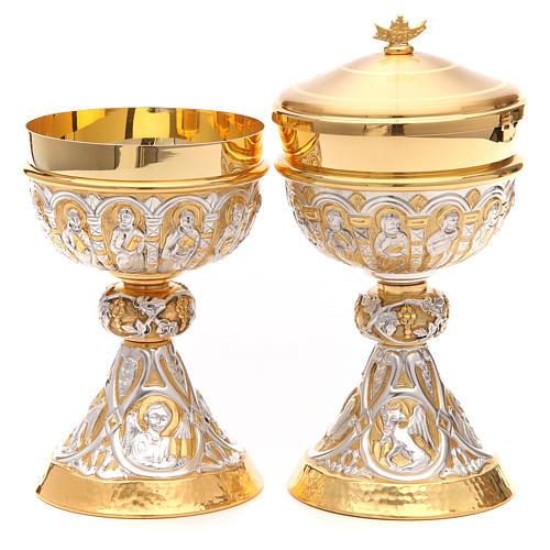 Cáliz y Copón de plata 800 con apóstoles y evangelistas 1