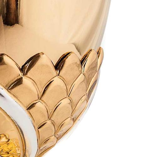 Calice ottone dorato cesellato gigli e spighe 3