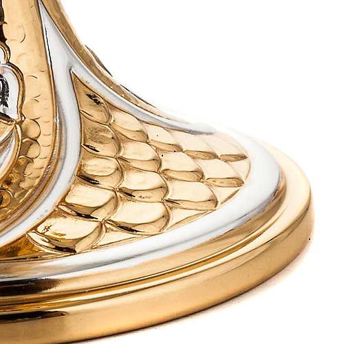 Calice ottone dorato cesellato gigli e spighe 4