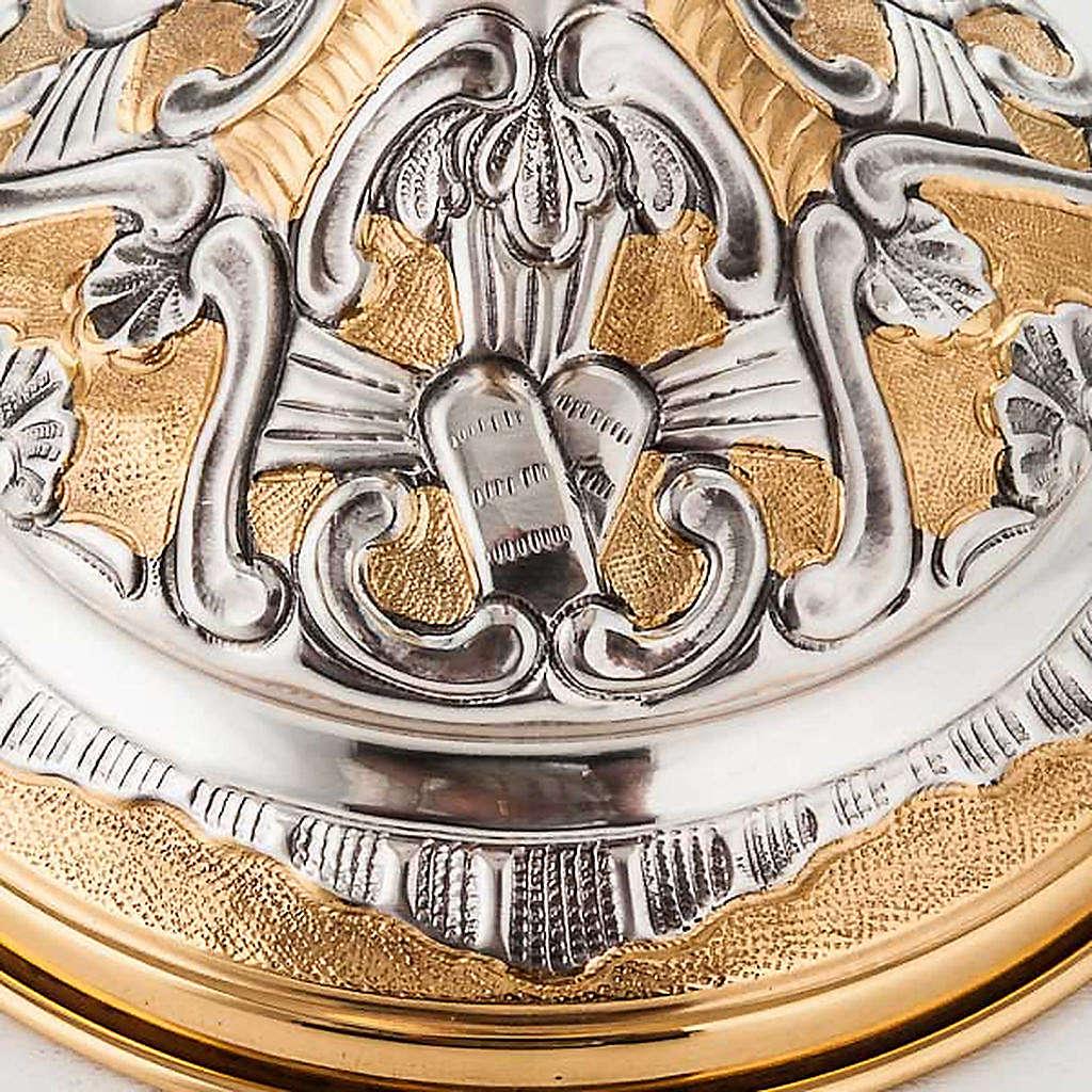 Calice argento 800/1000 e ottone tavole legge, cuore e pane 4