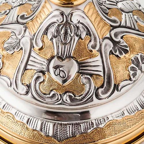 Calice argento 800/1000 e ottone tavole legge, cuore e pane 3