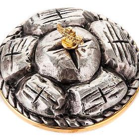 Pisside ottone argentato cesto di pane s3