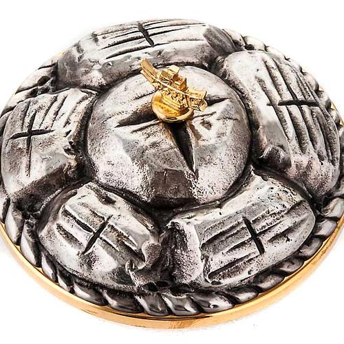 Pisside ottone argentato cesto di pane 3
