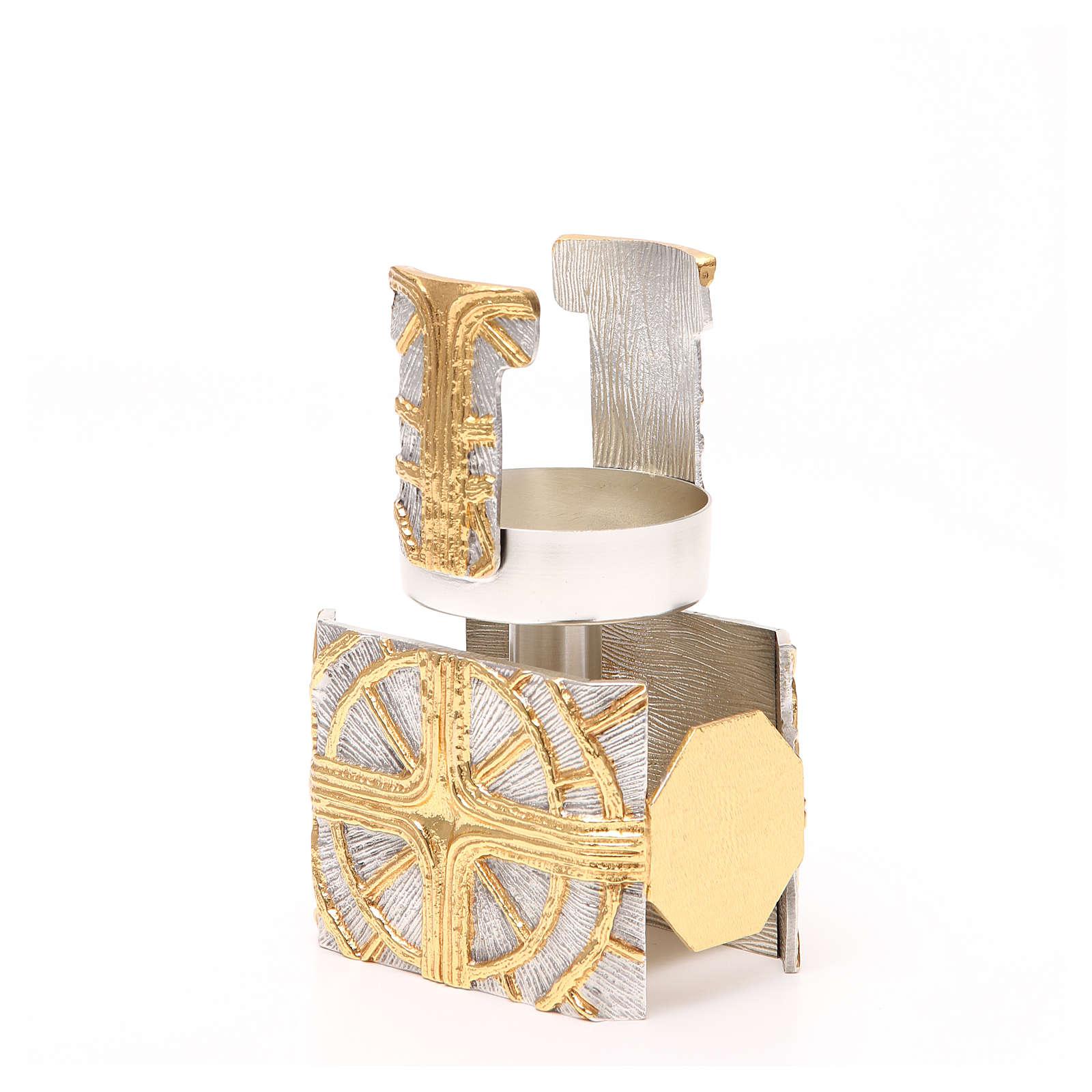 Pisside ottone dorato croce e raggi 4