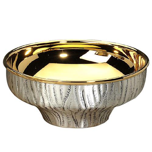 Patena offertoriale ottone argentato dorato cesellata a mano 1