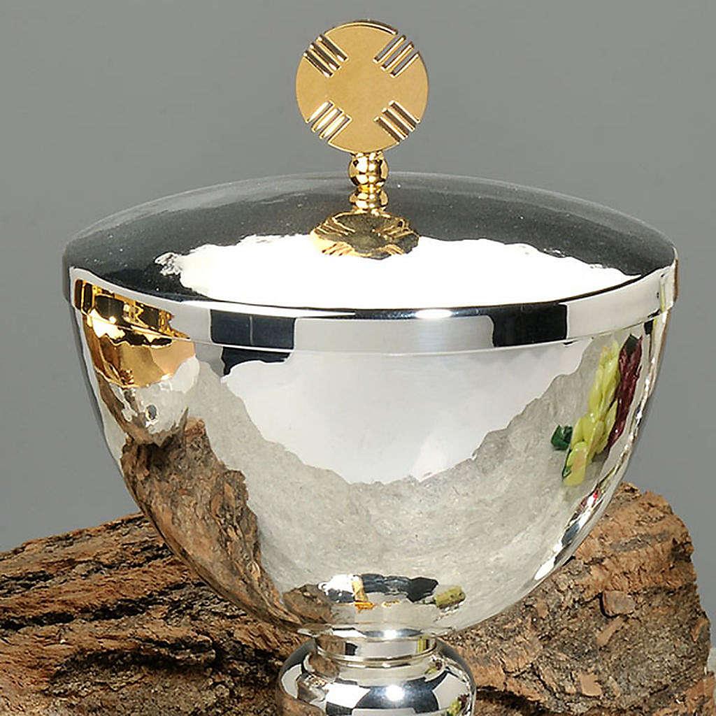 Calice e pisside ottone martellato cesellato a mano croce vetro 4