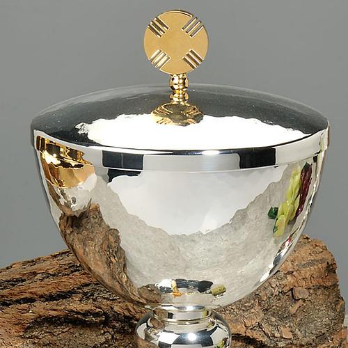 Calice e pisside ottone martellato cesellato a mano croce vetro 2