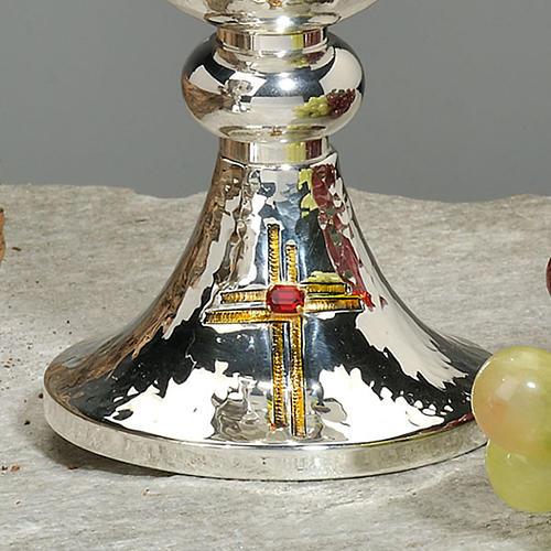 Calice e pisside ottone martellato cesellato a mano croce vetro 3